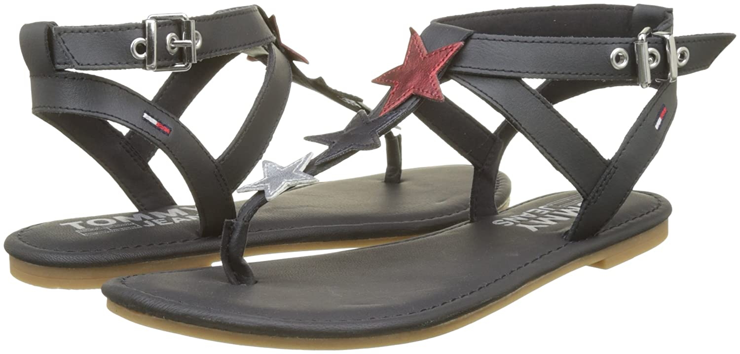 Hilfiger Denim Damen Flat Glitter Badge 403) T-Spangen Sandalen, Blau (Midnight 403) Badge 2e9e7b