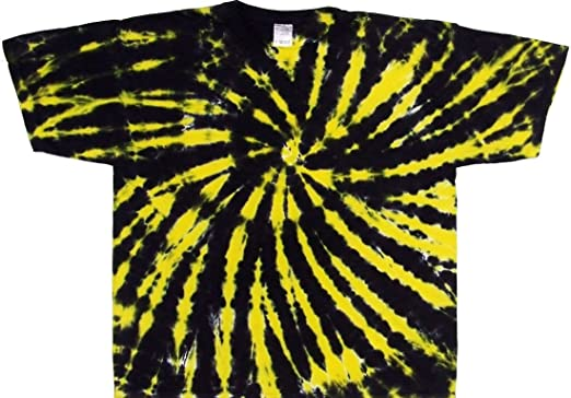 Amazon.com: Tie Dyed Shop Black and Yellow Spiral Tie Dye T Shirt ...
