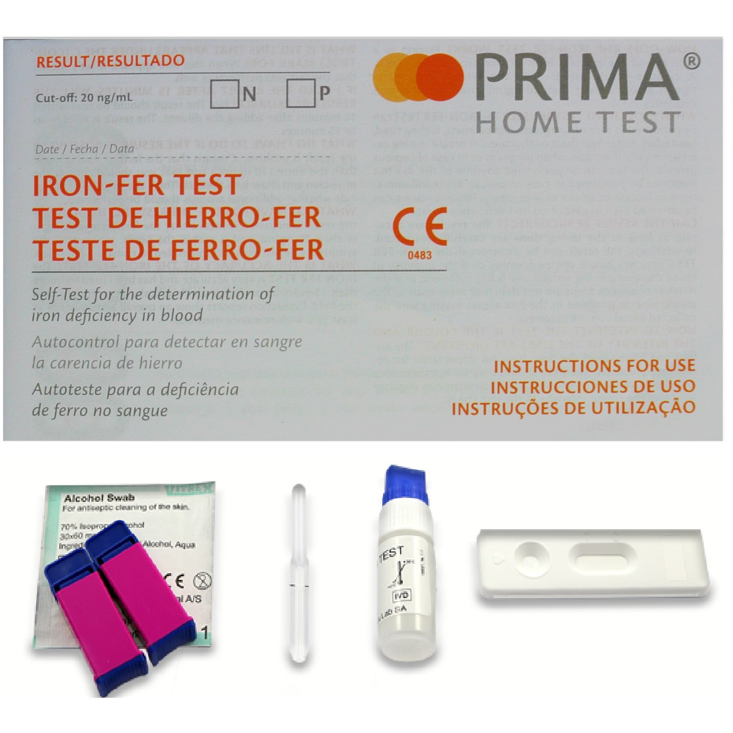 1 x Prima Home Anemia / Anaemia / Iron Deficiency Test Kit - including 1 x Alcohol Cleansing Wipe by Prima
