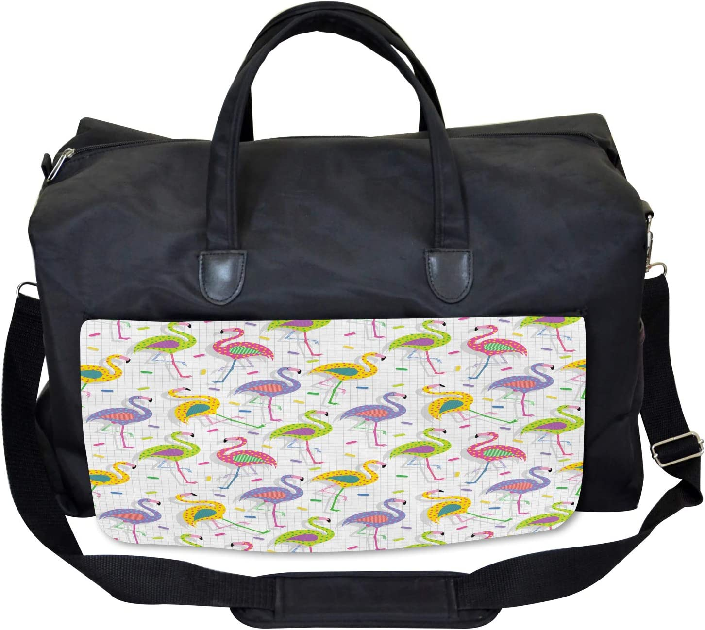 Ambesonne Flamingo Gym Bag Retro Colorful Pattern Large Weekender Carry-on