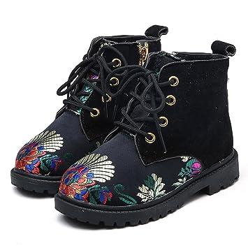 Koly Botines para Niños Winter Nights Botas para Niñas zapatos bebe baratos Chinese style Embroidery Retro Costura Shoes Zapatos Cordones Brogue Niñas ...