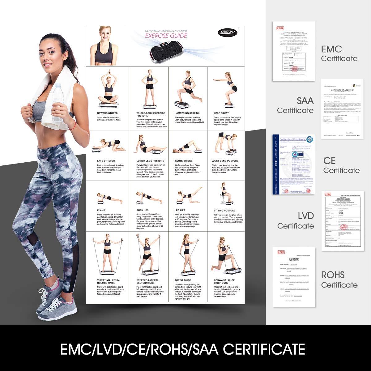 GENKI Fitness Vibration Platform Workout Machine Whole Full Body Shape Exercise Training Power Plate (Black) by GENKI (Image #7)
