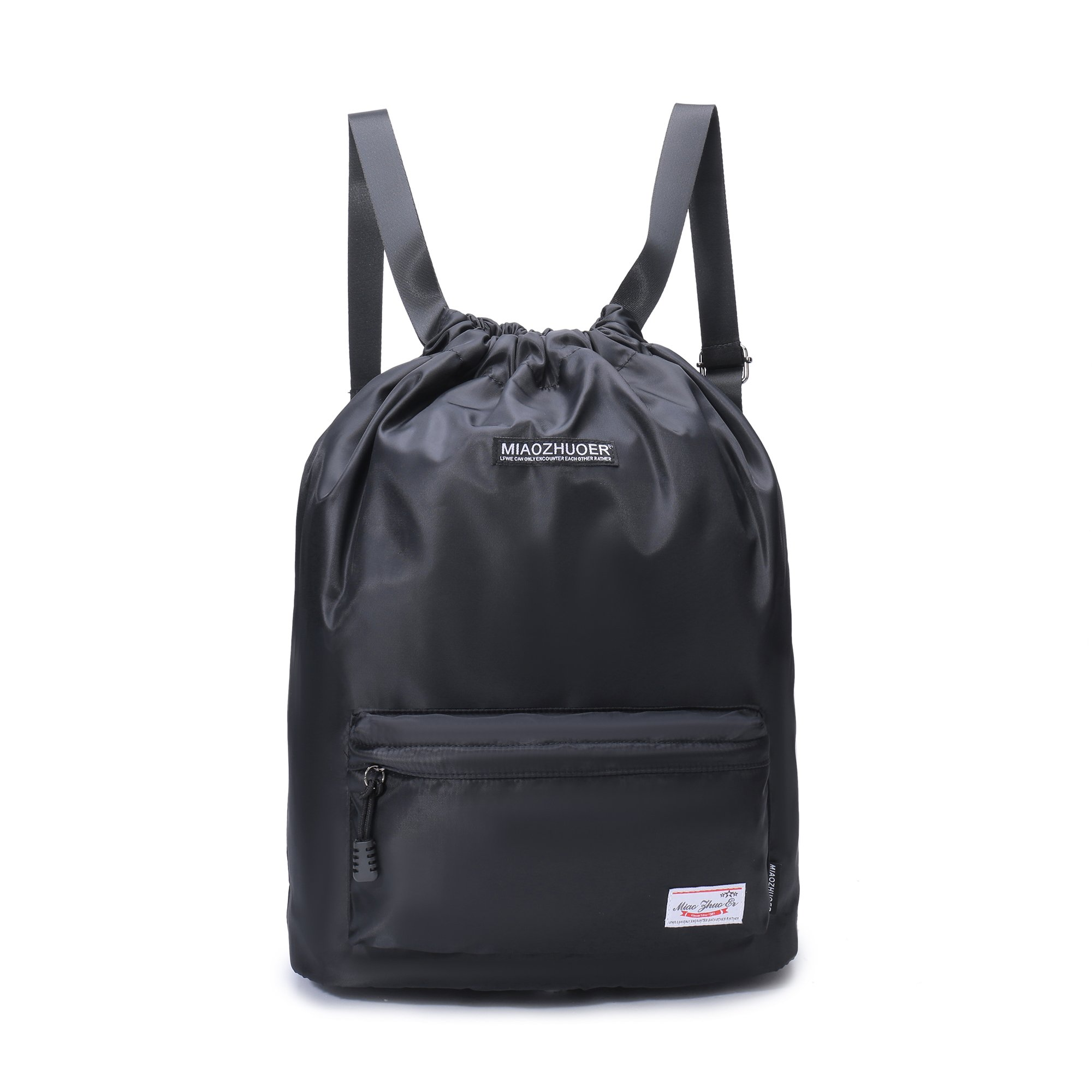 Yinjue Sport GymSack Cinch Sack Drawstring Backpack For Men&Women Kids, Lightweight Foldable Travel Hiking Yoga Summer Swimming Dancer Bags (Black44)