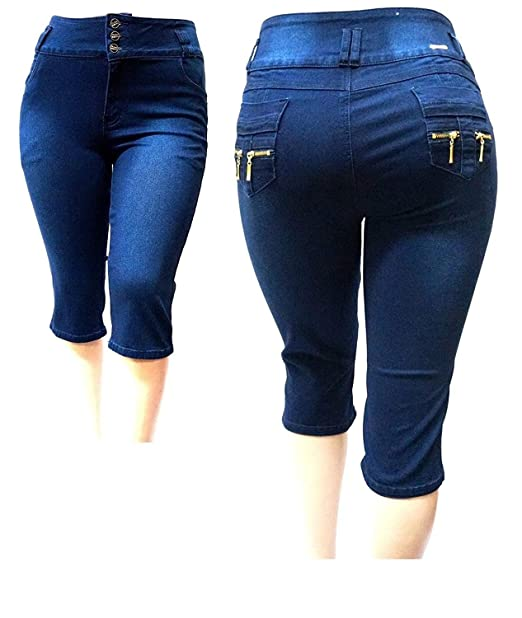 819aa0a8e54bb Pasion Women s Plus Size Stretch Premium Navy Blue Denim Jeans Capri High  Waist (14