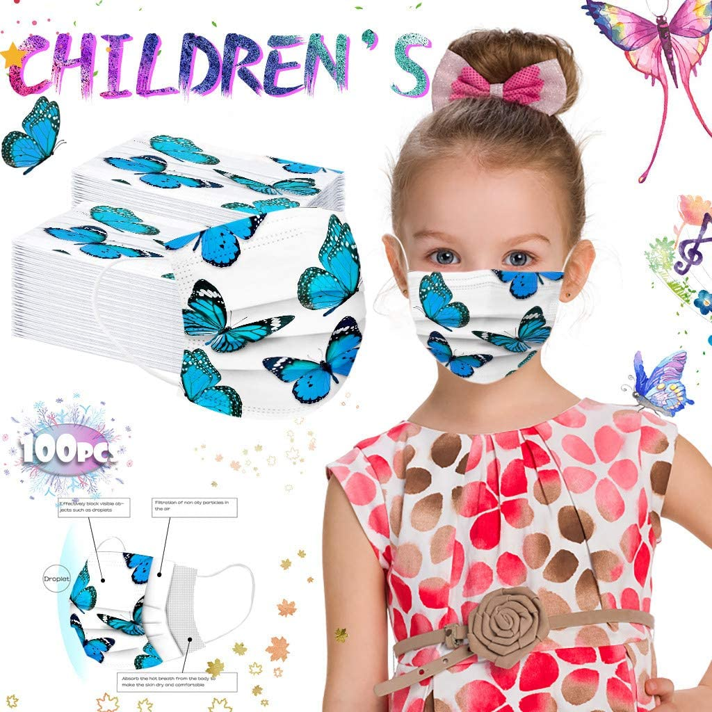 100 St/ück Kinder Einweg-Schutzhandtuch Cartoon-Muster gedruckt Tier wei/ß Hintergrund blau Schmetterling Muster Schutz Turban f/ür Jungen und M/ädchen