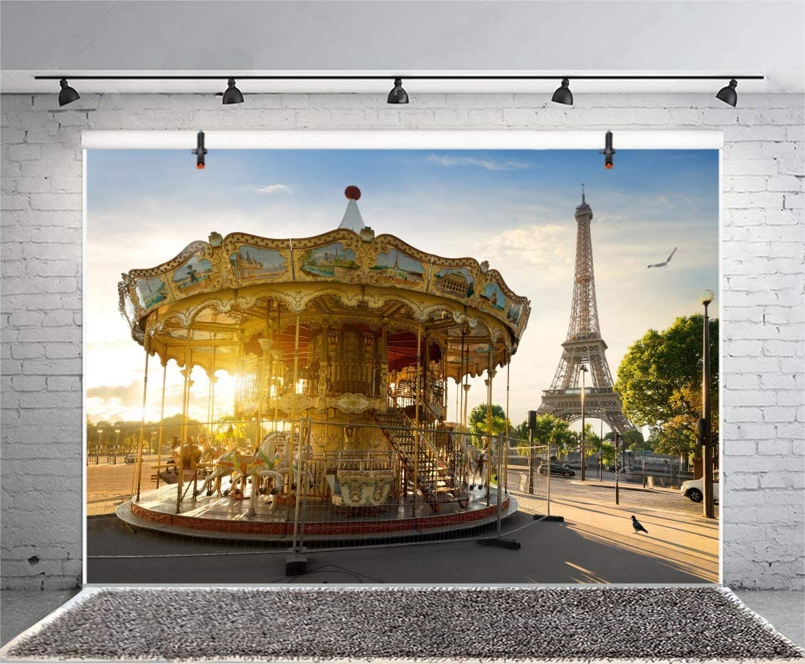 GoEoo 10x8ft Vinyl Eiffel Tower in Paris Backdrop Merry-go-Round Photography Background Holiday Travel in Park Holiday Party Backdrop Children Kids Adults Portraits Photo Studio Props