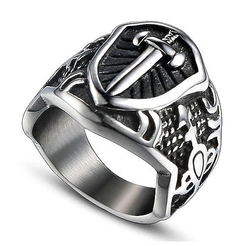 Amazon.com: Beydodo anillos para hombre, de acero inoxidable ...
