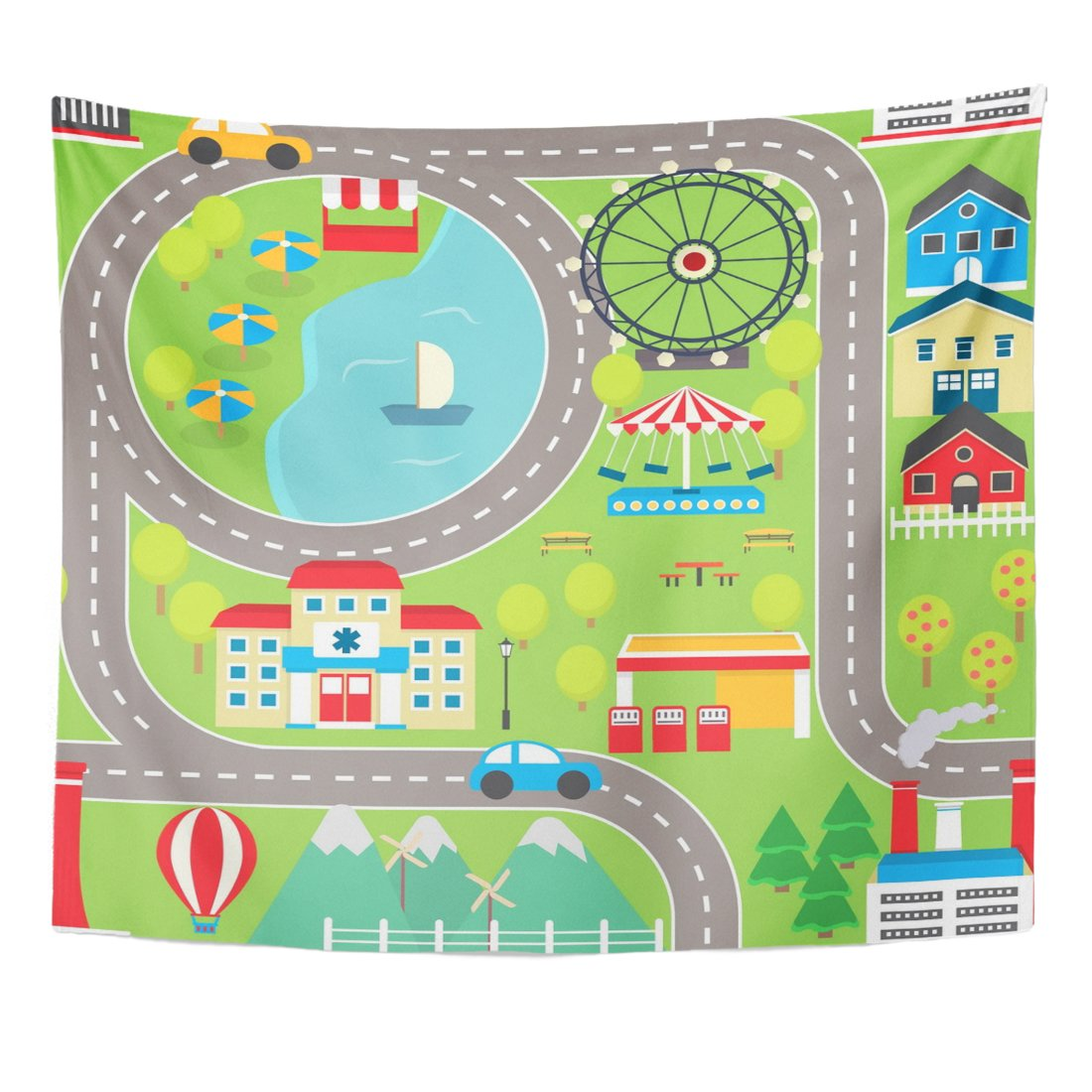 Amazon.com: VaryHome Tapestry Lovely City Landscape Car Track for ...