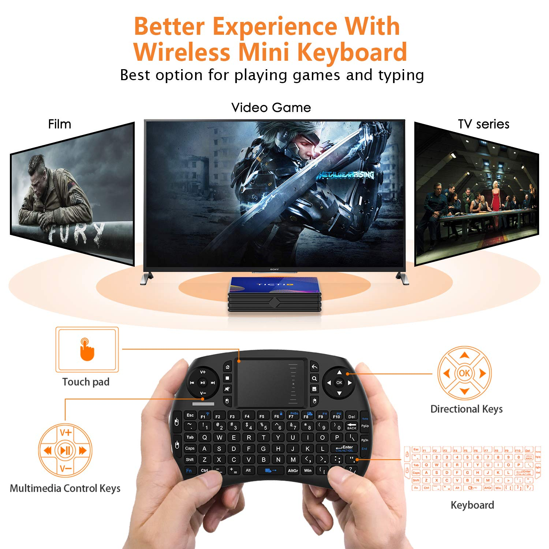 4K*2K UHD H.265 Android 9.0 TV Box【4G+64G】con Mini Teclado inal/ámbirco con touchpad RK3318 Quad-Core 64bit Wi-Fi-Dual 5G//2.4G,BT 4.1 USB 3.0 Smart TV Box HDMI