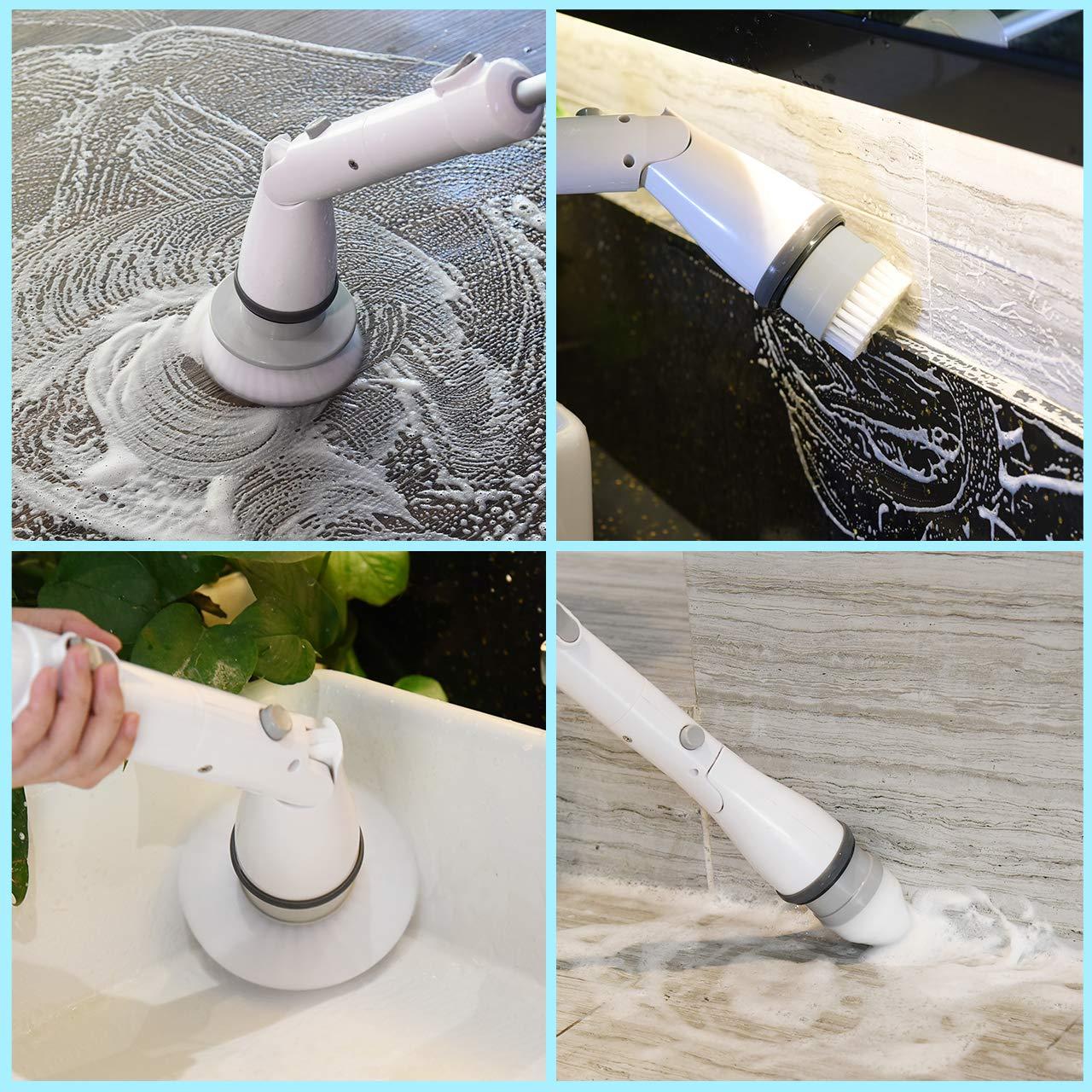 Joints Sol Spin Scrubber pour Salle de Bain Carreau Baignoire 1 Poign/ée dExtension Ajust/é Entre 60-108cm Brosse de Nettoyage /Électrique avec 4 Brosses Homitt Brosse Rotative Nettoyage