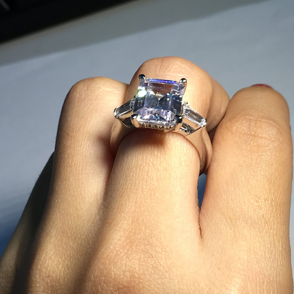 Erllo Emerald Cut Ring Baguette 3 Stones 4 Carat Cubic Zirconia CZ Engagement Sterling Silver Band Jewelry