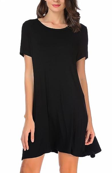 Carterstory Women Casual Plain Tshirt Dress Plus Size Loose Swing