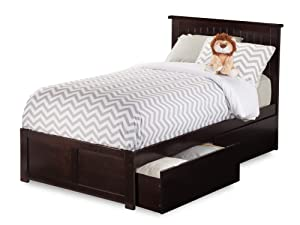 Atlantic Furniture AR8212111 Nantucket Platform Bed with 2 Urban Bed Drawers, Twin XL, Espresso