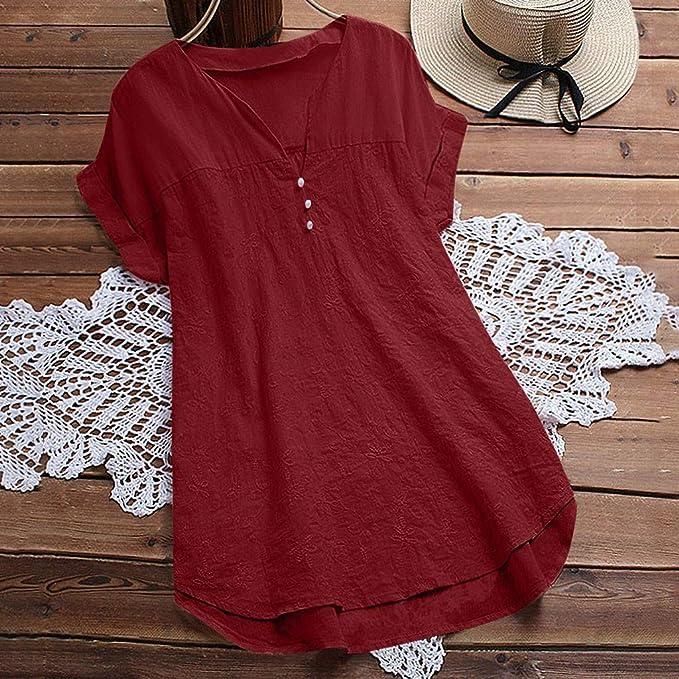 Amazon.com: TUSANG - Blusa para mujer con cuello en V ...