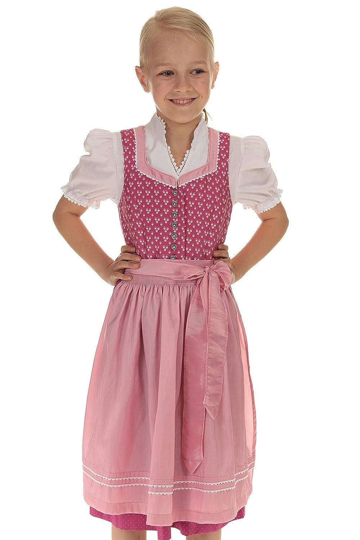 Turi Landhaus Kinder Dirndl rosa Trachtenkleid Mädchen Kleid Tracht Mädchen mit Bluse und Schürze