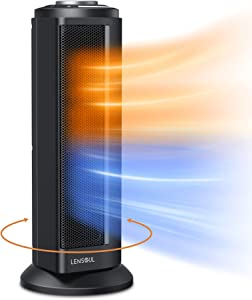 Fast heating Space Heater with Adjustable Thermostat - 1500W Electric Ceramic Tower Heaters Indoor Portable, Overheat & Tip-Over Protection