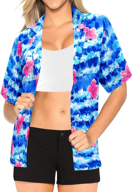 LA LEELA Hawaiian Blouse | Women Boy Friend Shirts | Short Sleeve | Beach Party Top | Summer Casual | Plus Size Loose Aloha | XS-3XL | Likre | Printed 1885