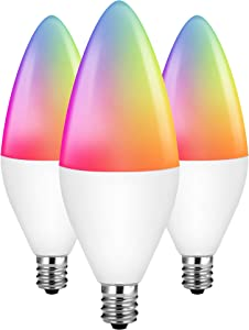 Zigbee Smart Light Bulbs, Seedan Smart Bulb Candelabra E12 Base 5W, RGB Color Changing Light Bulb, Work with Alexa Philips Hue SmartThings Amazon Echo Plus, Tunable White Chandelier LED Bulbs (3 Pack)