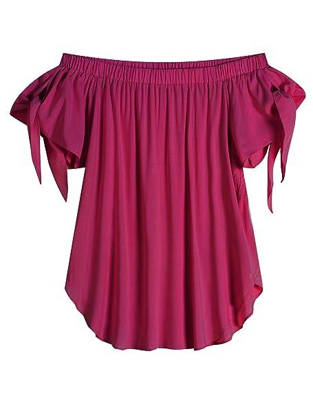 Amazon.com: Just Quella Blusa al hombro de mangas cortas ...