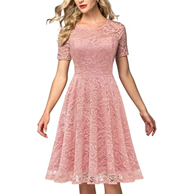 AONOUR Women's Vintage Floral Lace Elegant Cocktail Formal Swing Dress with Short Sleeve: Clothing