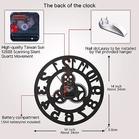 VIKMARI r/éducteurs industriels Vintage 3D Horloge Murale dor Horloge Murale Chiffres Romains en Bois 14 inch Sliver Roman Numeral