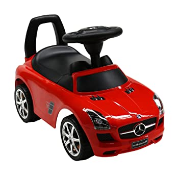 licensed mercedes benz kids ride on push car red