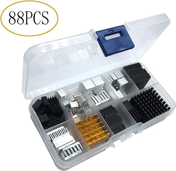 AmazonSmile: 88pcs Heatsink Kit Small to Medium Size Cooler Heat Sink Set for Cooling Development Board Laptop CPU GPU VGA RAM IC Chips LED MOSFET Transistor SCR Southbridge Northbridge Voltage Regulator: Computers & Accessories