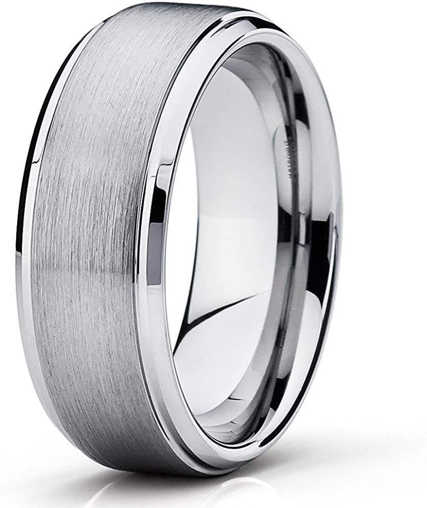 Silly Kings 9mm Tungsten Wedding Ring,Silver Tungsten Ring,Tungsten Carbide Ring,Anniversary Ring,Engagement Ring,Men & Women,Silver,Comfort Fit