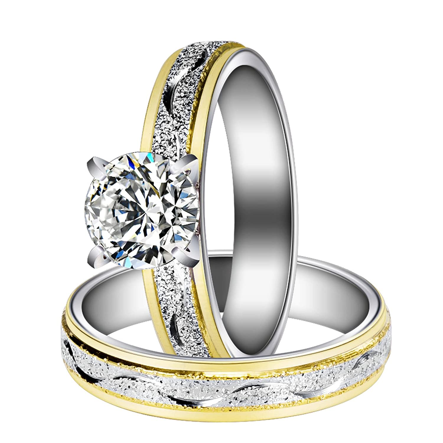 Herinos Women Engagement Rings Set, Stainless Steel Gold Plated Cubic Zirconia Promise Wedding Band Size 6-9 RI016