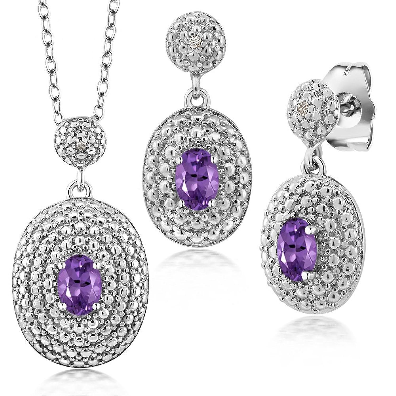 1.07 Ct Oval Purple Amethyst and Diamond Rhodium Plated Pendant Earrings Set