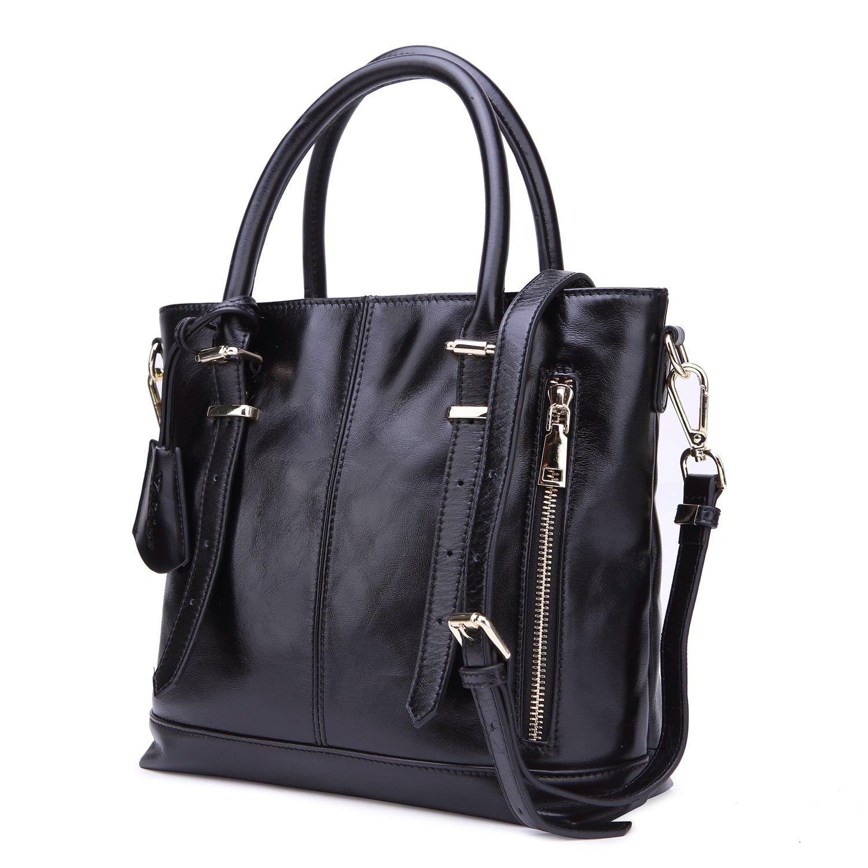 Yafeige Womens Leather Shoulder Handbags Satchel Tote Top Handle Bags Crossbody Handbag Purse for Ladies(Black) by Yafeige (Image #2)