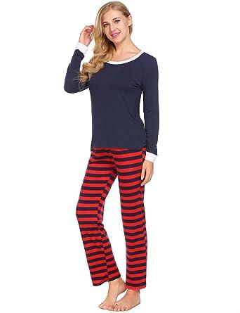Avidlove Women Men Christmas Winter Pajamas Long Sleeve and Stripe Bottoms  Cotton PJ Set 160813032b