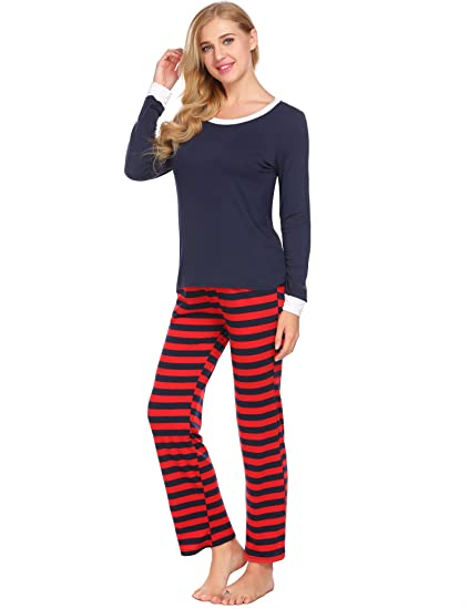Avidlove Women Men Christmas Winter Pajamas Long Sleeve and Stripe Bottoms  Cotton PJ Set dfa4decbd
