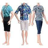 ASIV Mode 3 Manches Courtes, 3 Pantalons Vêtements Décontractés pour Barbie Boyfriend Ken Doll Accessoires de Poupée