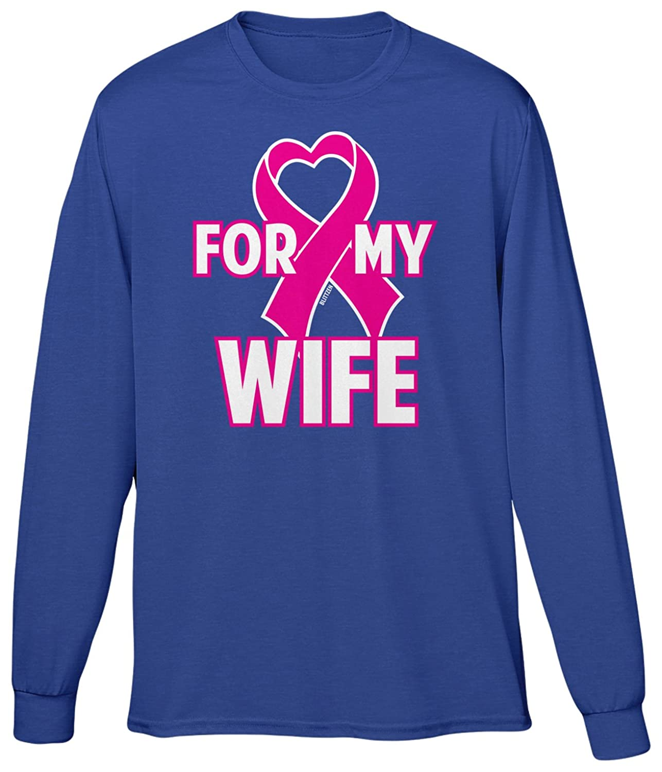 Blittzen Mens Long Sleeve T-shirt For My Wife Heart Pink Ribbon