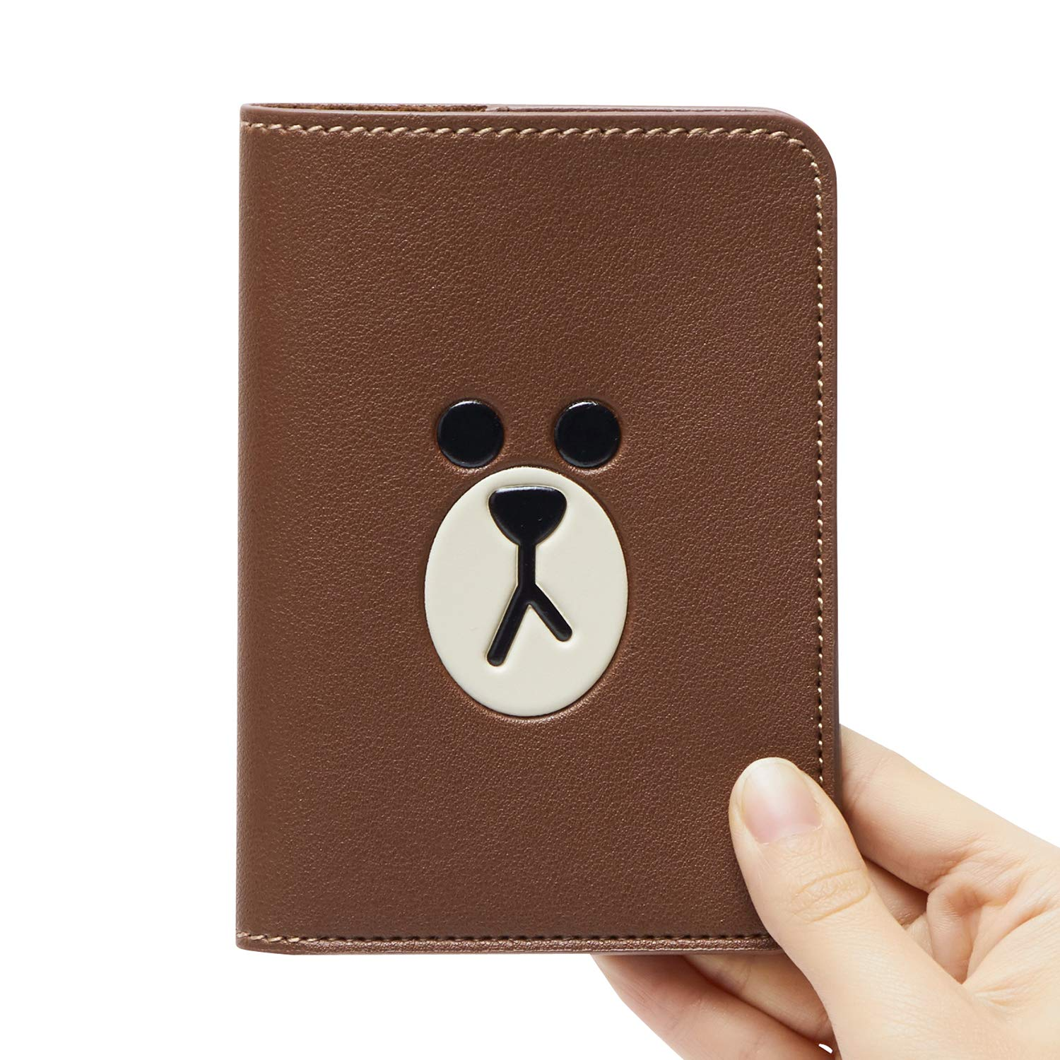3de2533b2f86 Line Friends Passport Holder Wallet - BROWN Character Faux Leather Cover  Accessory for Travel, Brown