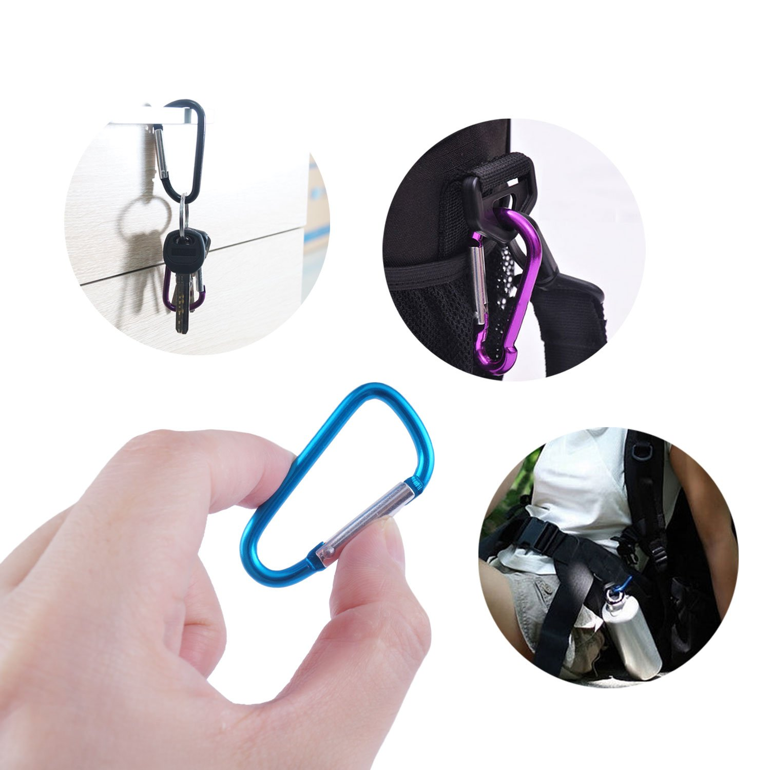 Carabiner Clip Aluminum D-Ring Spring Loaded Gate Small Keychain Carabiner Clip Set for Outdoor Camping 4 Different Sizes Assorted Colors/Pack of 20 GKCI