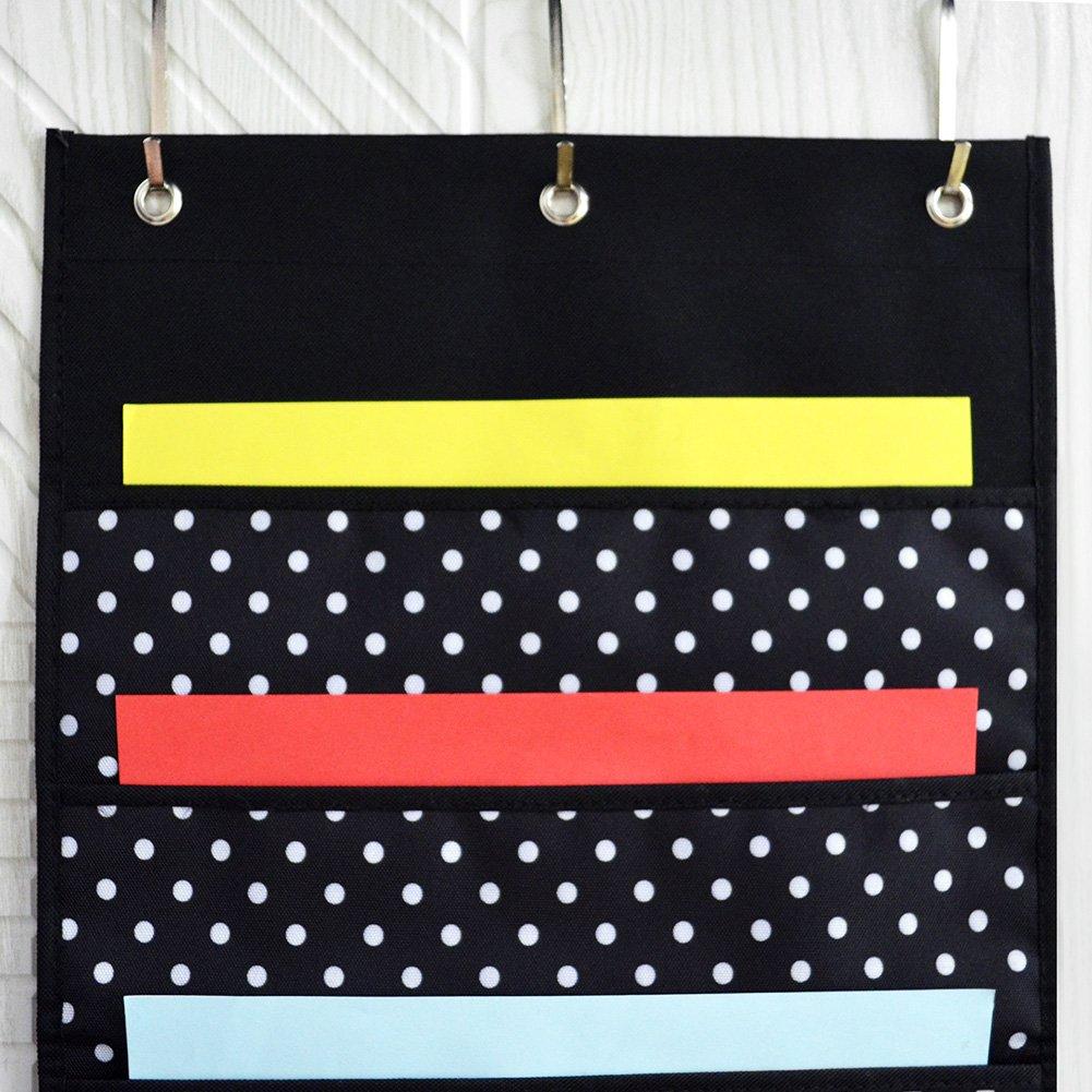 10 Taschen Wand oder /über T/ürhalterung Godery Premium h/ängende Datei Ordner Organizer Schultaschen-Diagramm oder B/üro-Rechnungsablage und 3 Kleiderb/ügel Vervollkommnen Sie f/ür Hauptorganisation