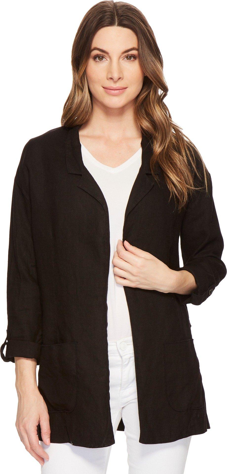 Three Dots Women's Woven Linen Blazer Black Medium