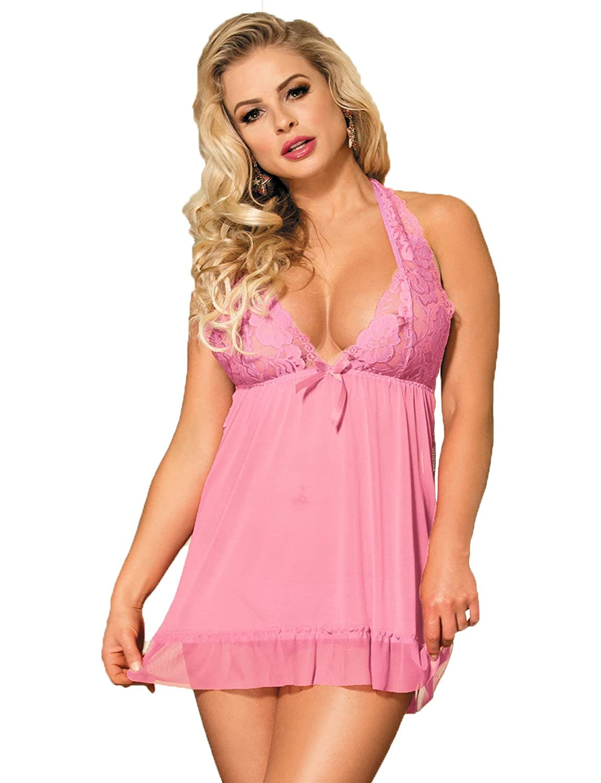7018627b6 Yummy Bee Plus Size Lingerie Babydoll Sheer Lace Dress Nightwear Set ...