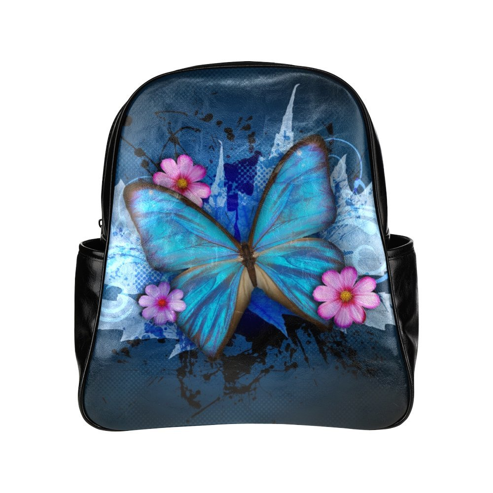 219381213e5b 70%OFF Blue Butterfly With Flower PU Leather Multi-pocket School Bag ...