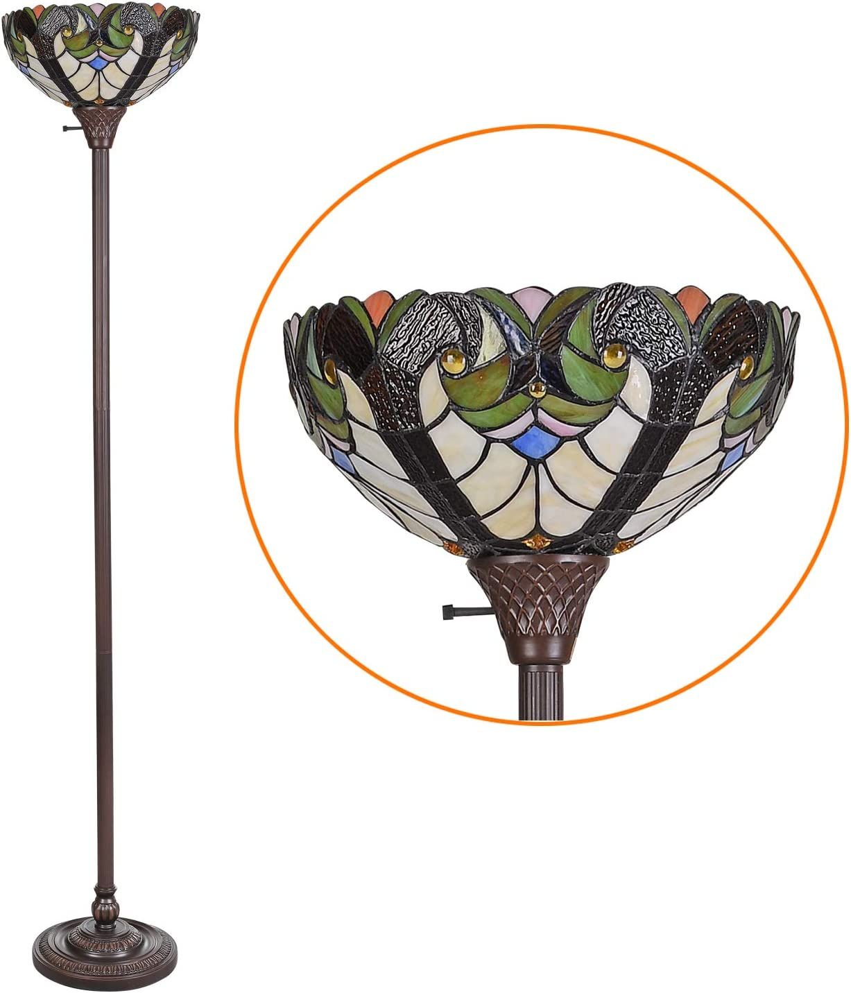 Cotoss Tiffany Style Torchiere Floor Lamp Tall 70 Inch Wide 14