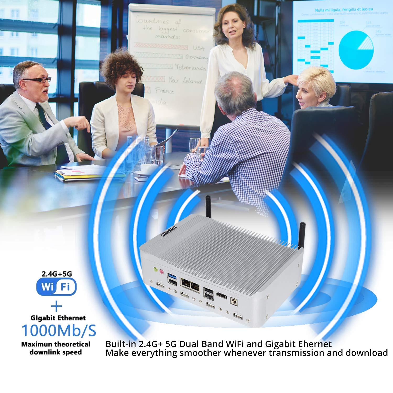 Mini PC 4-Core Celeron J1900 Windows 10 Pro//Linux 4 GB RAM 6 /× COM RS232 // RS485 64 GB SSD HISTTON Mini Computer industriale