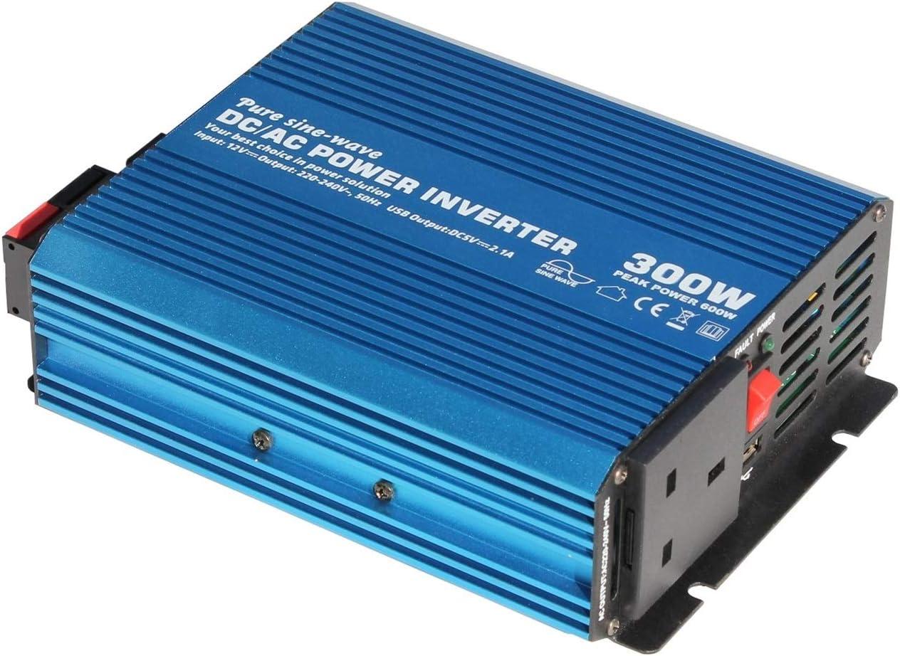 Inversor de la energía 300W 12V de potencia de onda sinusoidal pura inversor de salida de 230 V de CA (enchufe UK), con potente puerto USB - for cualquier vehículo, barco o aplicación estacionaria de