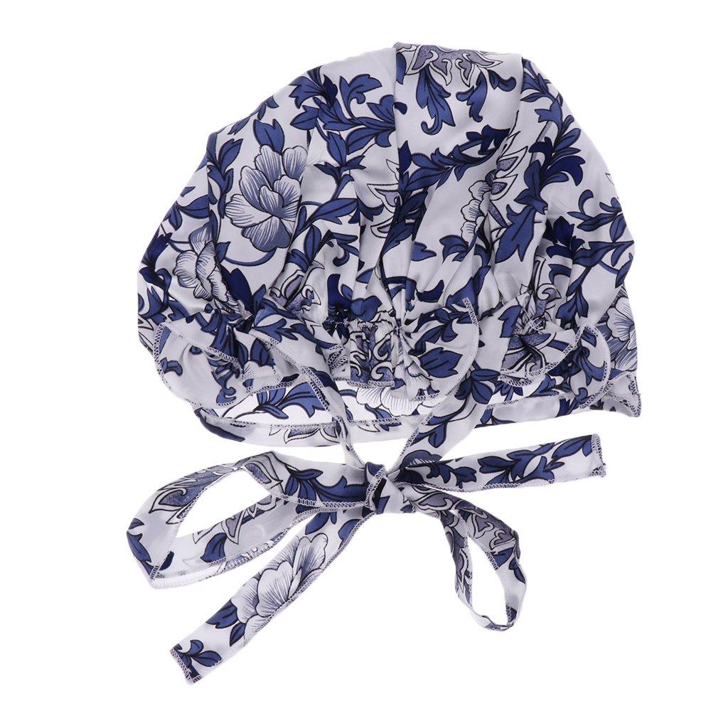 MagiDeal Silk Sleeping Hats Wrap Night Cap Hair Care Soft Bonnet Women's Hat as described