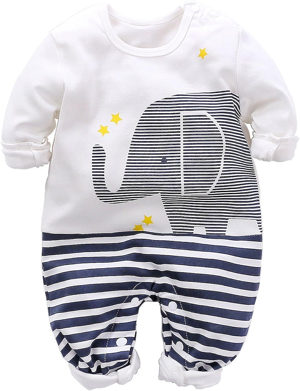 Cute Newborn Baby Boy Girls Animal Elephant Print White Jumpsuit Long  Sleeve Romper