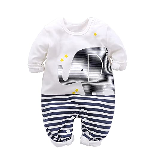 4d6fb2c0a3b4 Yierying Cute Newborn Kids Baby Boy Girls Elephant Print White Jumpsuit  Long Sleeve Romper Animal Print