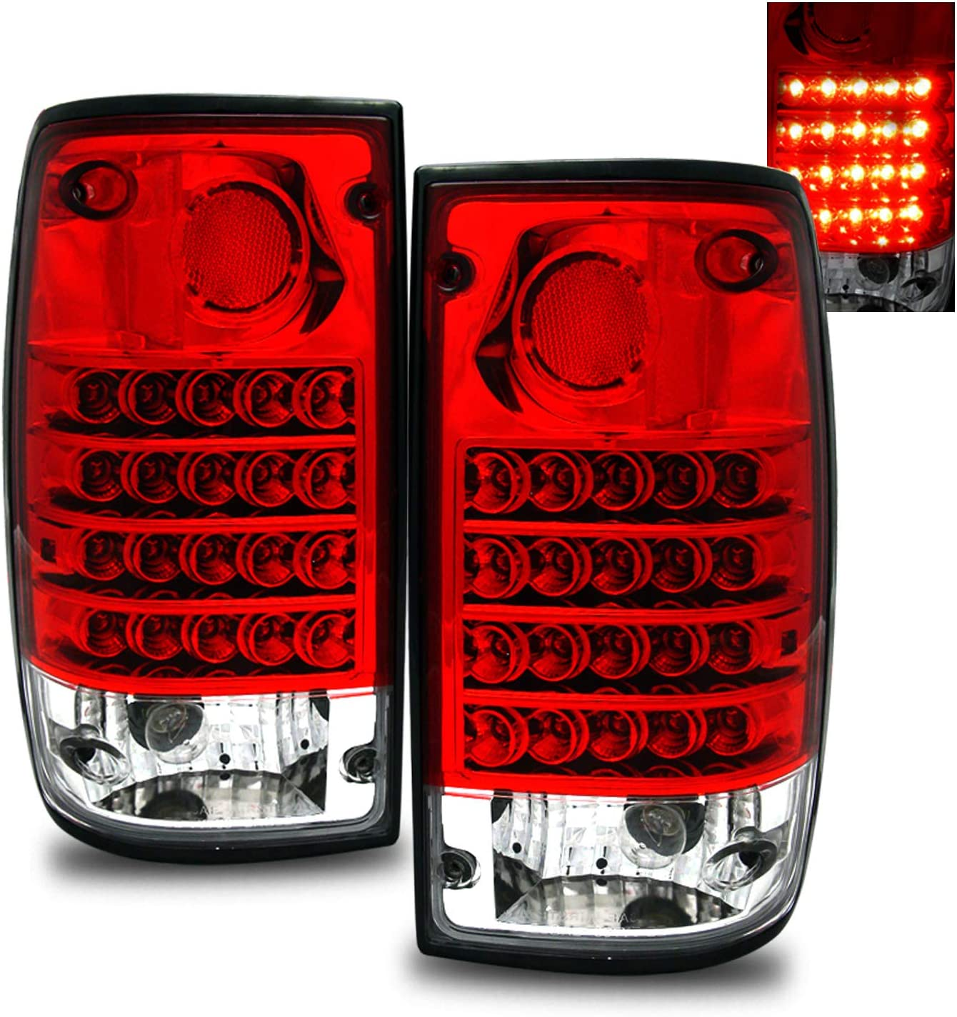 Set of Pair Red Lens LED Taillights for 1989-1995 Toyota Pickup