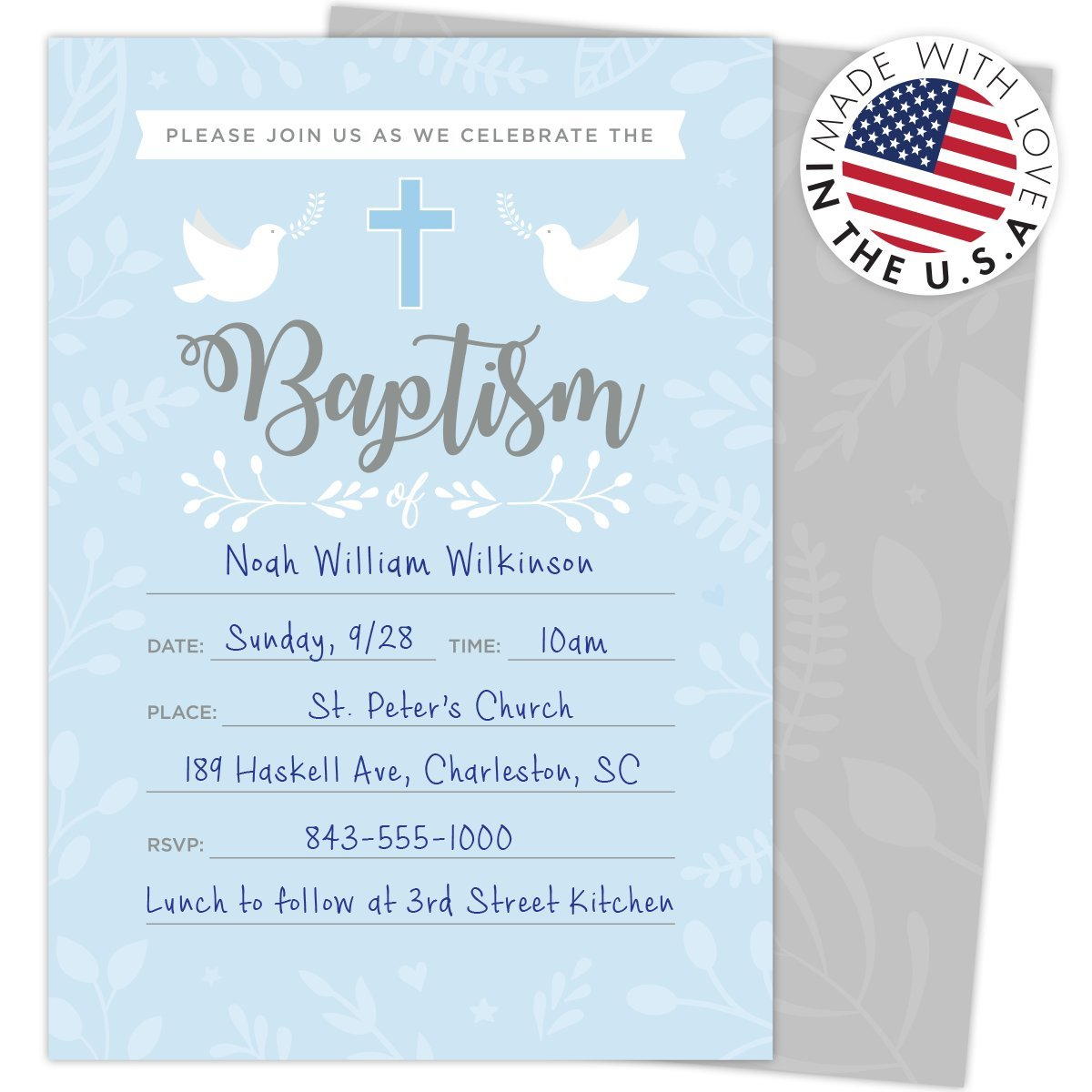Baptism Invitations for Baby Boys, 25 Fill In The Blank Style Cards and Envelopes. by Koko Paper Co (Image #3)