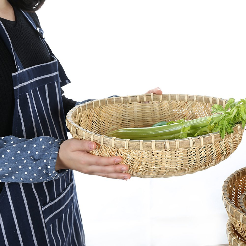wellhouse Natural Bamboo Straw Woven Round Bread Roll Baskets Food Serving Baskets Fruits Storage Containers Draining Plate Round with Height by wellhouse (Image #4)
